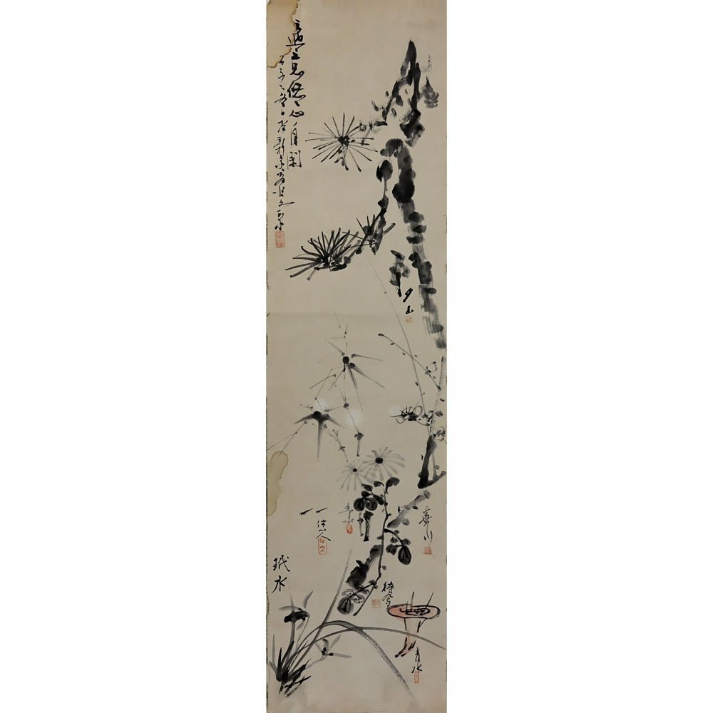 Antique Chinese Watercolor on Rice Paper Laid On Paper.