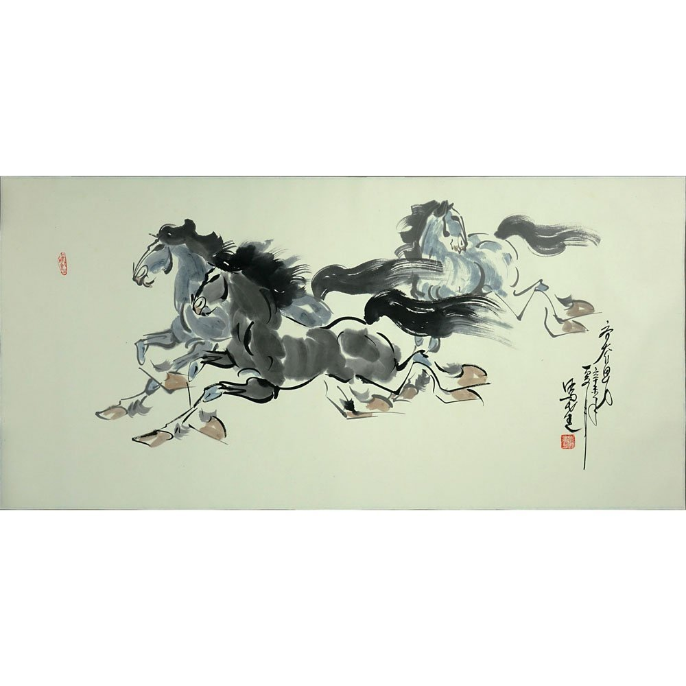 "20th Century Chinese Watercolor on Paper. ""Horses"""