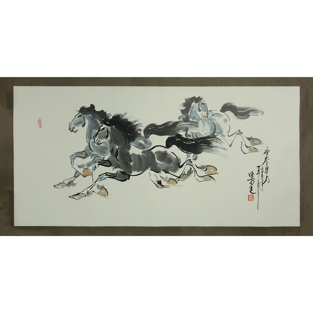 "20th Century Chinese Watercolor on Paper. ""Horses"" - 2"