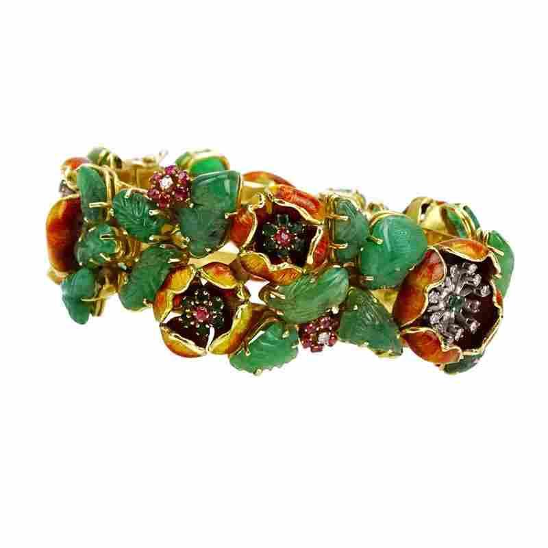 Vintage Carved Emerald, Diamond, Ruby, Emerald, Enamel