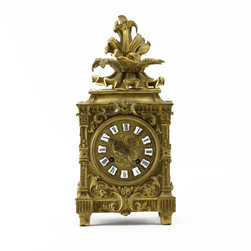 Raingo Freres Paris Antique Bronze Clock. Signed on