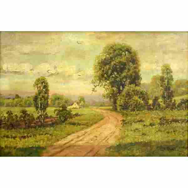 """Antique Oil on Canvas """"Old Country Road"""" Signed Lower"""