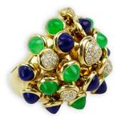 Cartier Diamond Emerald Lapis Lazuli and 18 Karat