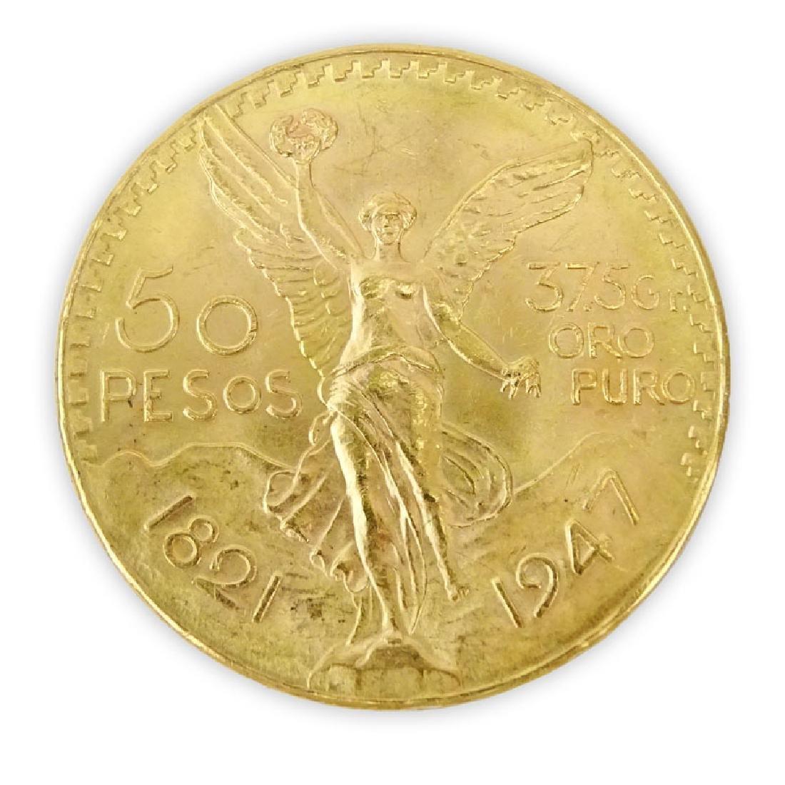 1821-1947 Mexican 50 Pesos Gold Coin. Approx. 41.8