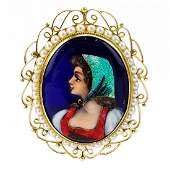 Vintage French Limoges Enamel, Oriental Seed Pearl and