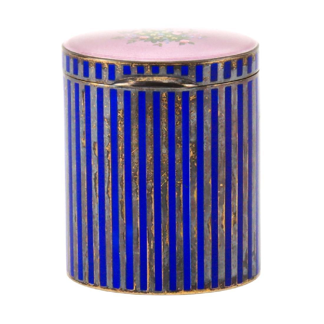 Vintage Italian Guilloche Enamel and Silver Round Box