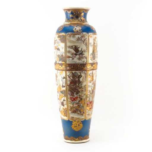 Very Tall Vintage Satsuma Pottery Vase Unsigned
