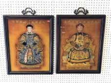 Pr of Chinese Handpainetd Emperor & Empress in Heavy