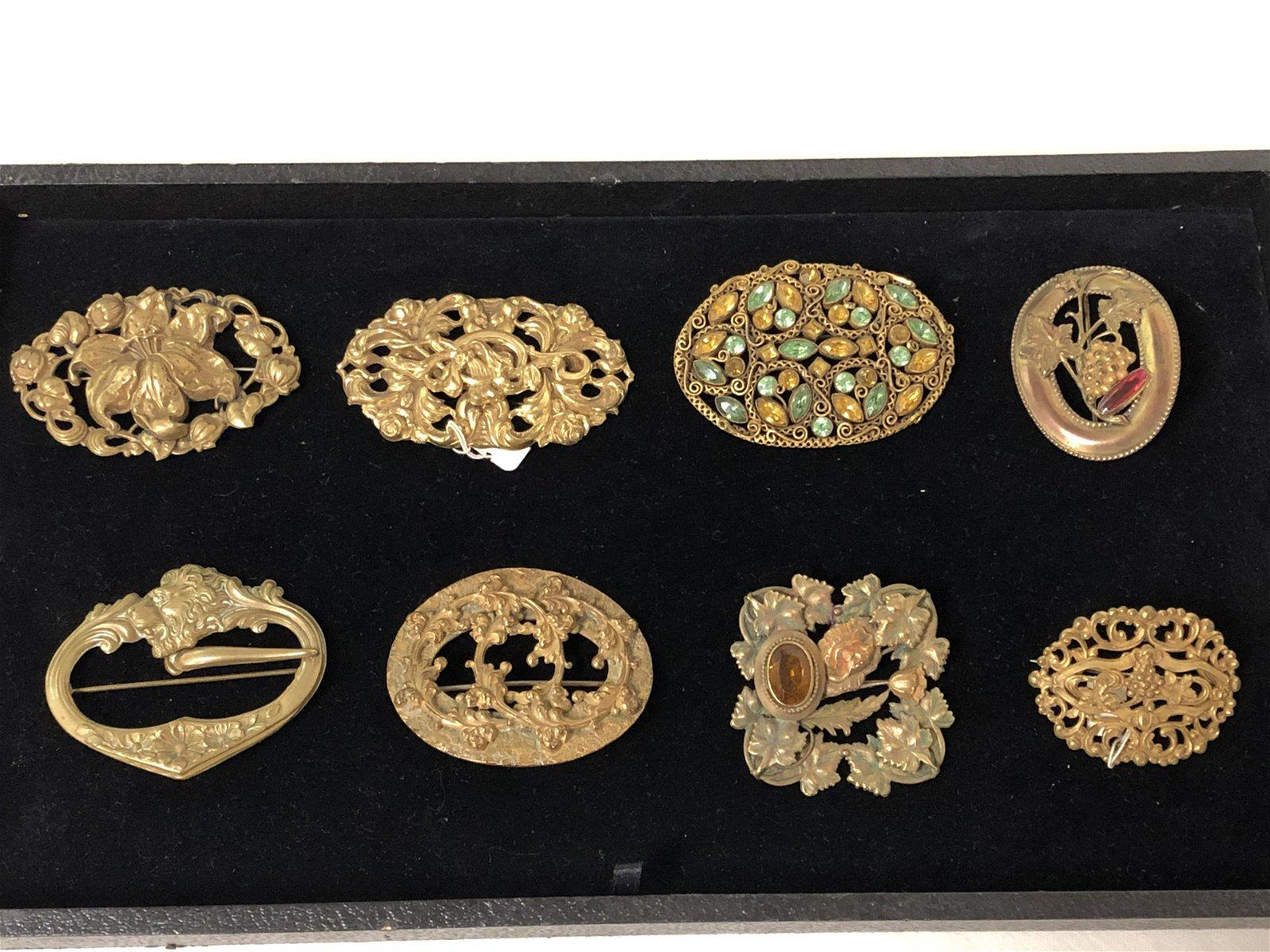 (8) Art Nouveau Brass Brooch Pins - 2'', 2.5'', 3''
