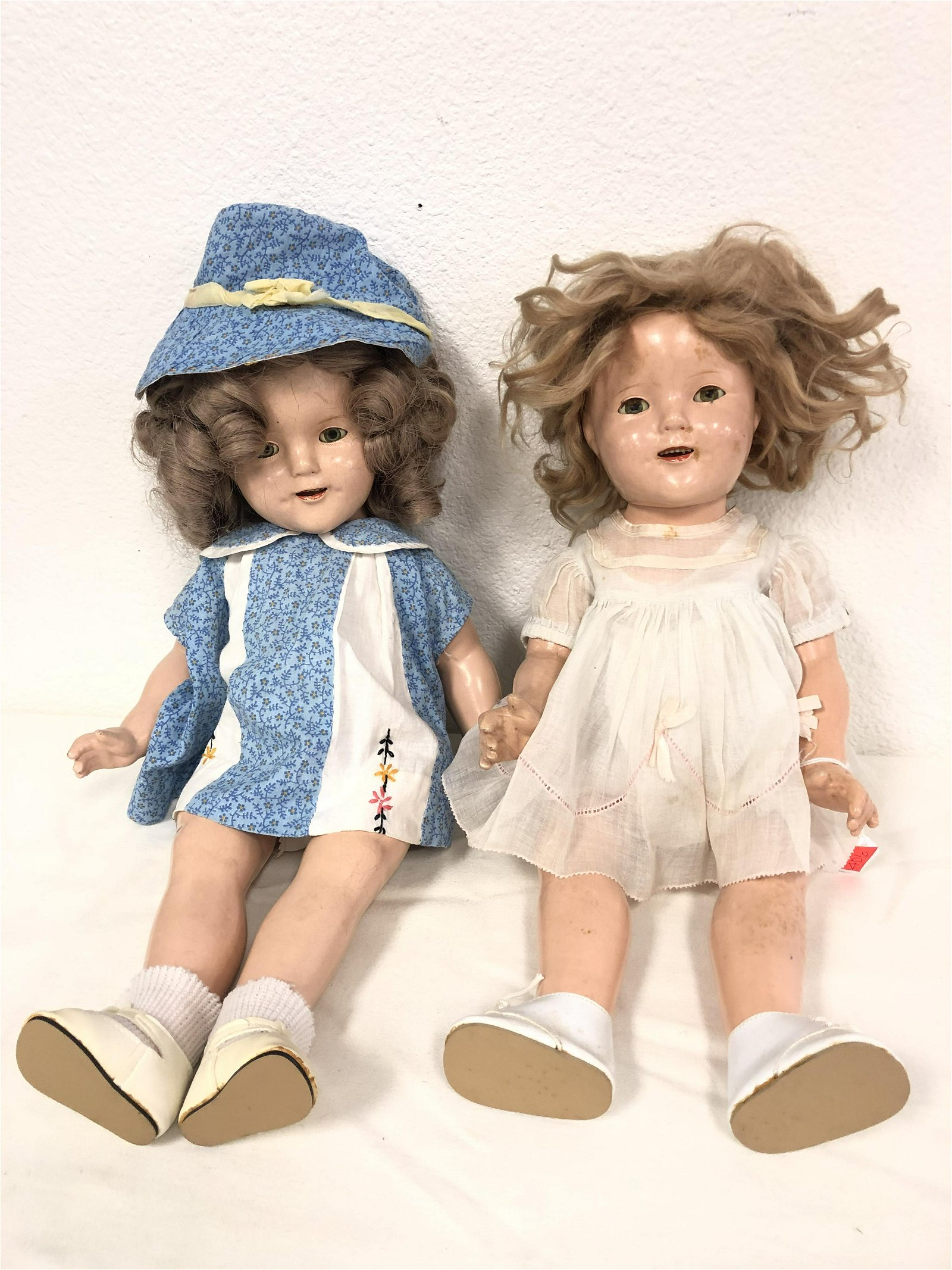 2 Vintage Composition Shirley Temple Dolls - 1 Unmarked