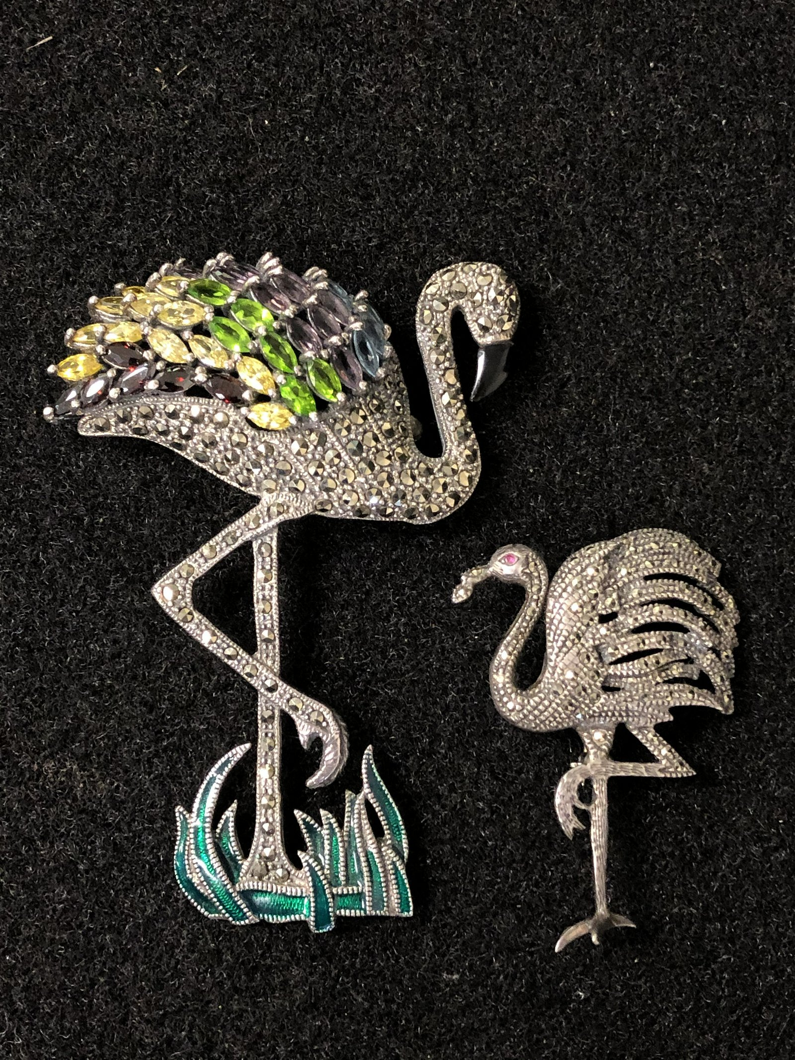 2 Marcasite Sterling Ostrich Brooches - 1 w/ Enamel &