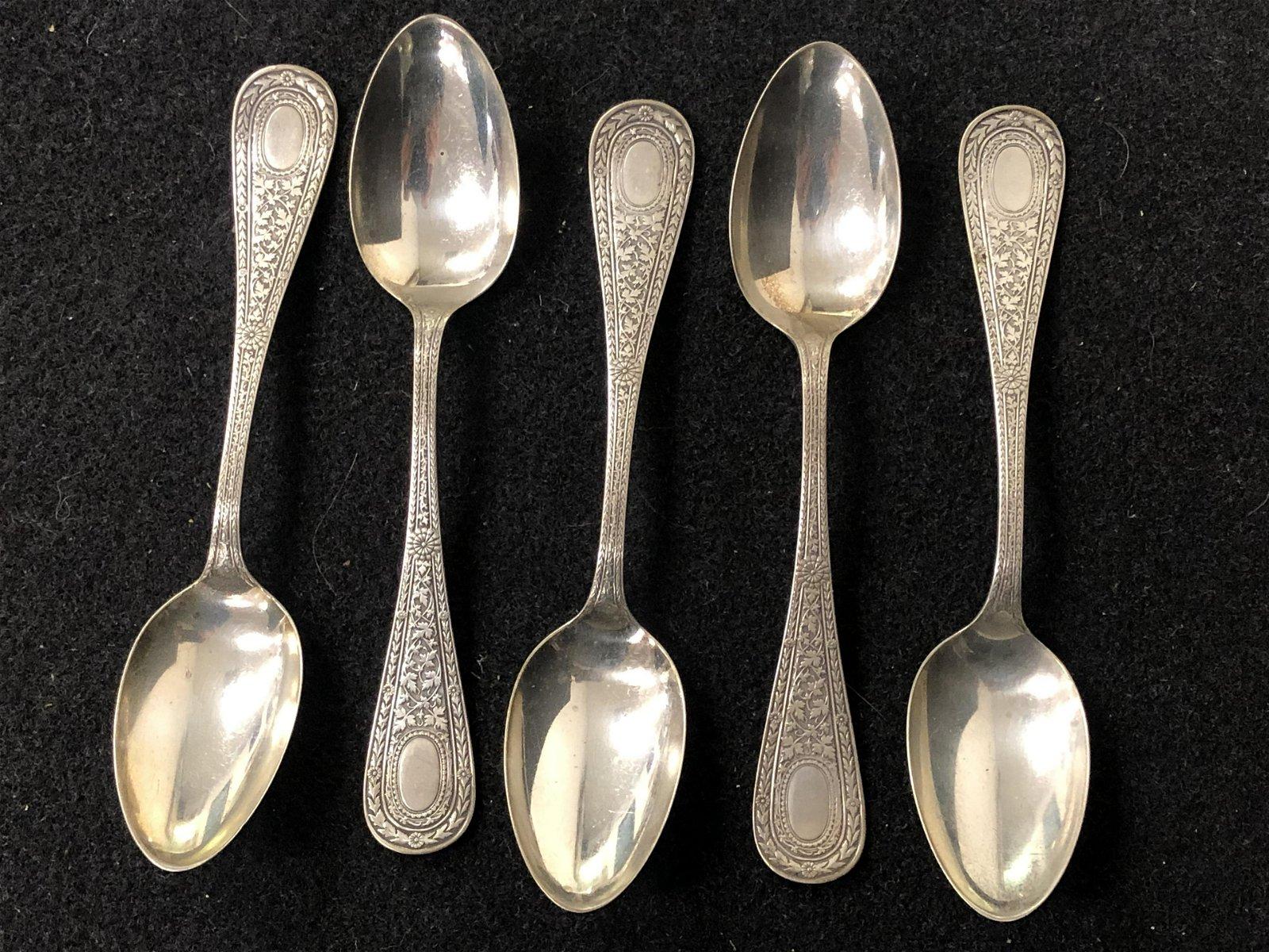 5 Antique Sterling Gorham Spoons - Gorham / Whiting,