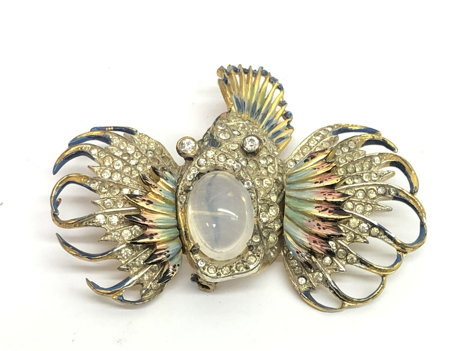 Early CoroCraft Sterling Lion Fish Brooch - Vintage,