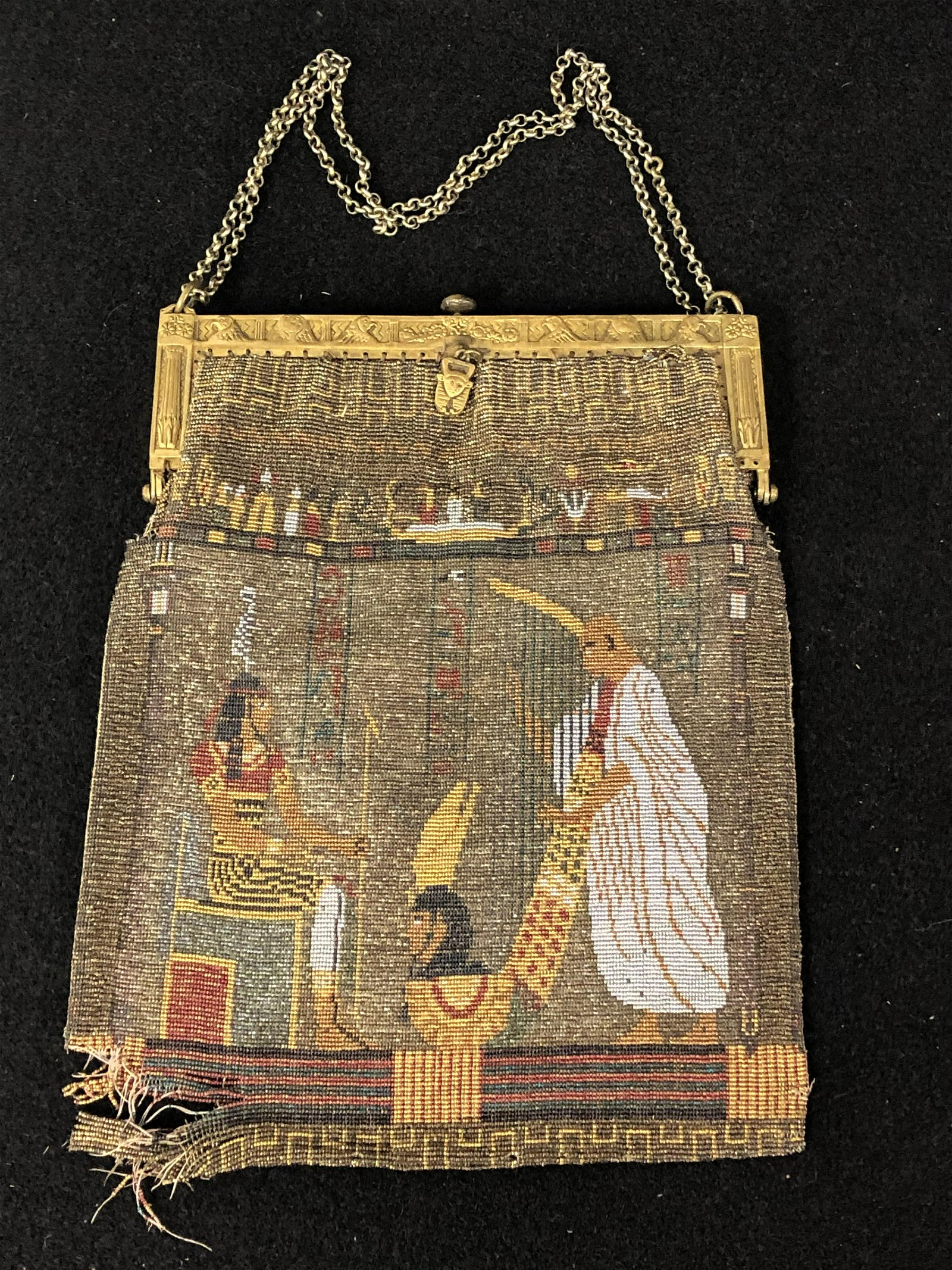 Egyptian Revival Antique Beaded Purse