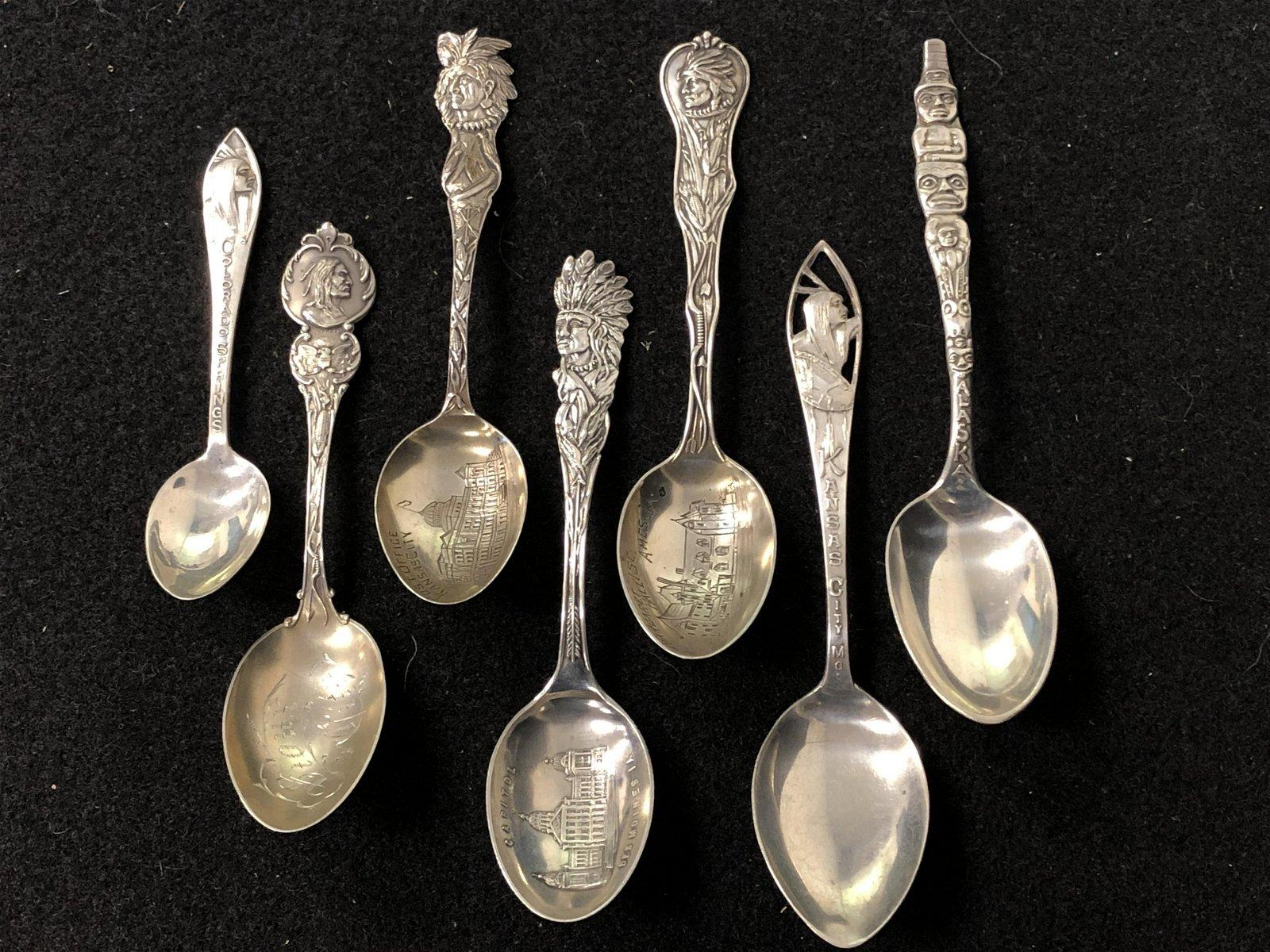 7 Sterling Native America Souvenir Spoons