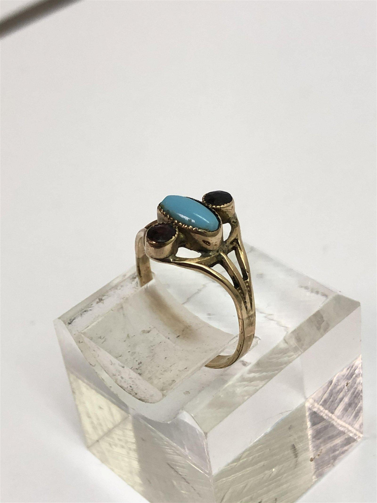 14K Gold Arts Crafts Turquoise Garnet Ring