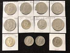 Asst US Quarters Half Dollars  1 Coins