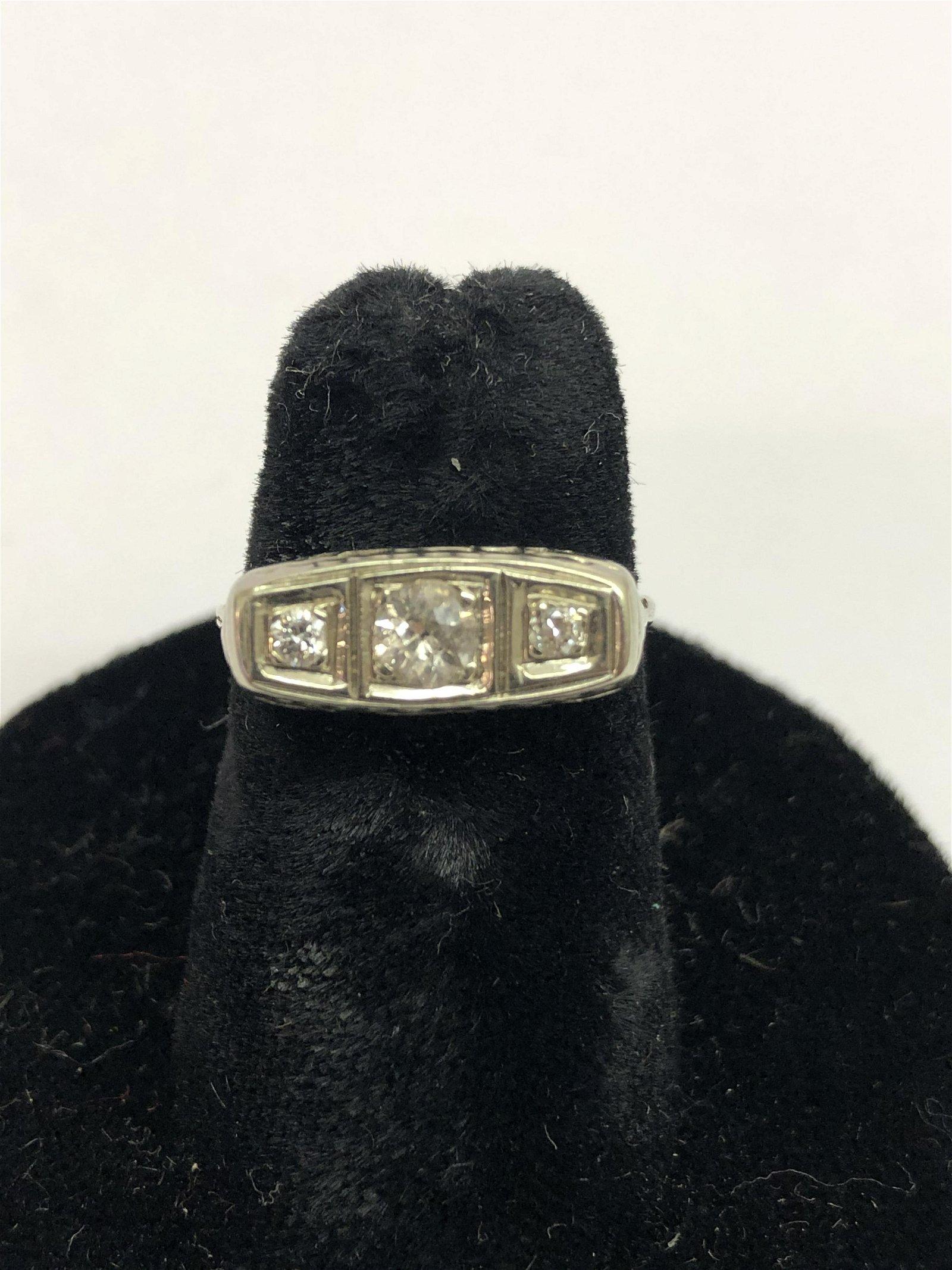 Deco 18K Gold Diamond Gypsy Ring