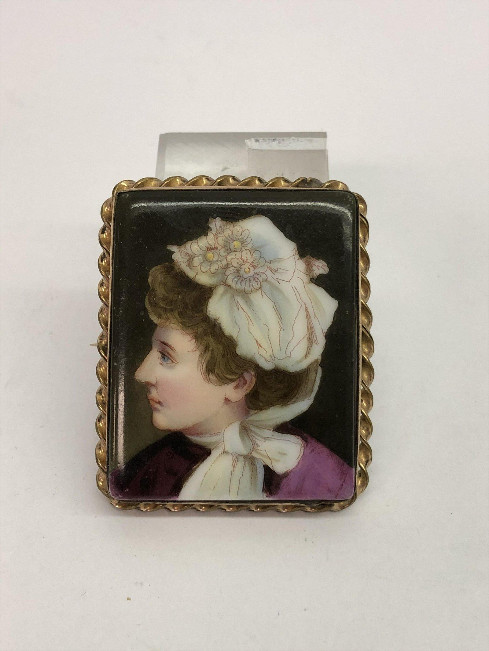 Victorian Portrait on Porcelain Brooch