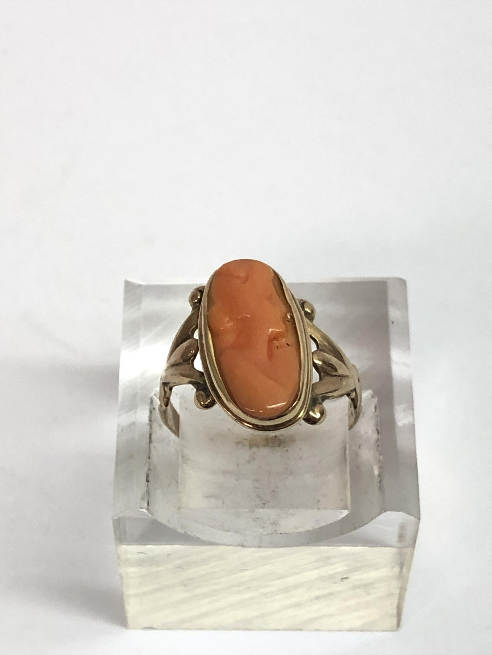 Victorian 14K Gold Coral Cameo Ring
