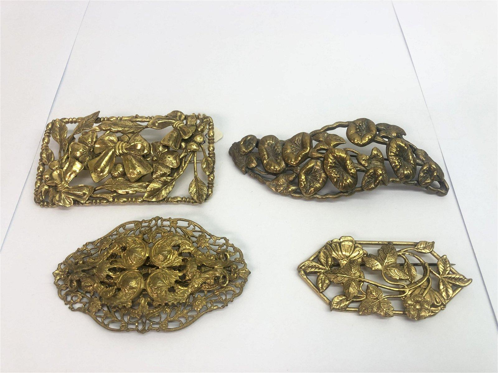 4 Art Nouveau Brass Brooches