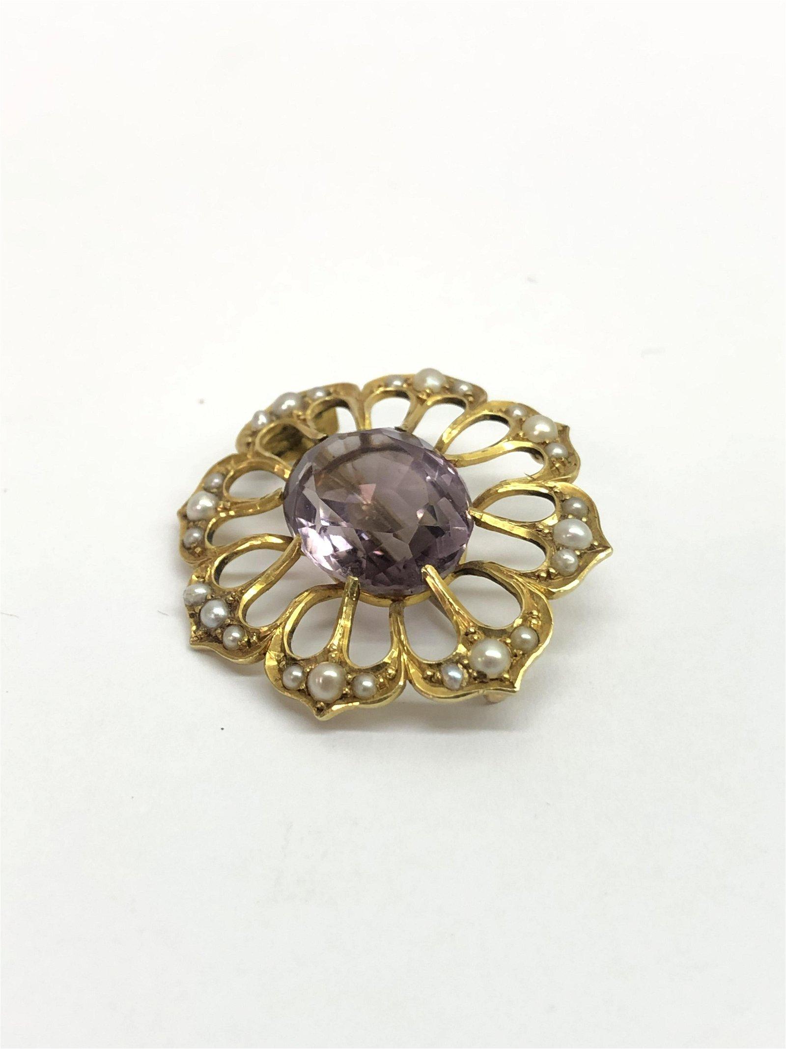 15C Gold Edwardian Amethyst Pearl Brooch