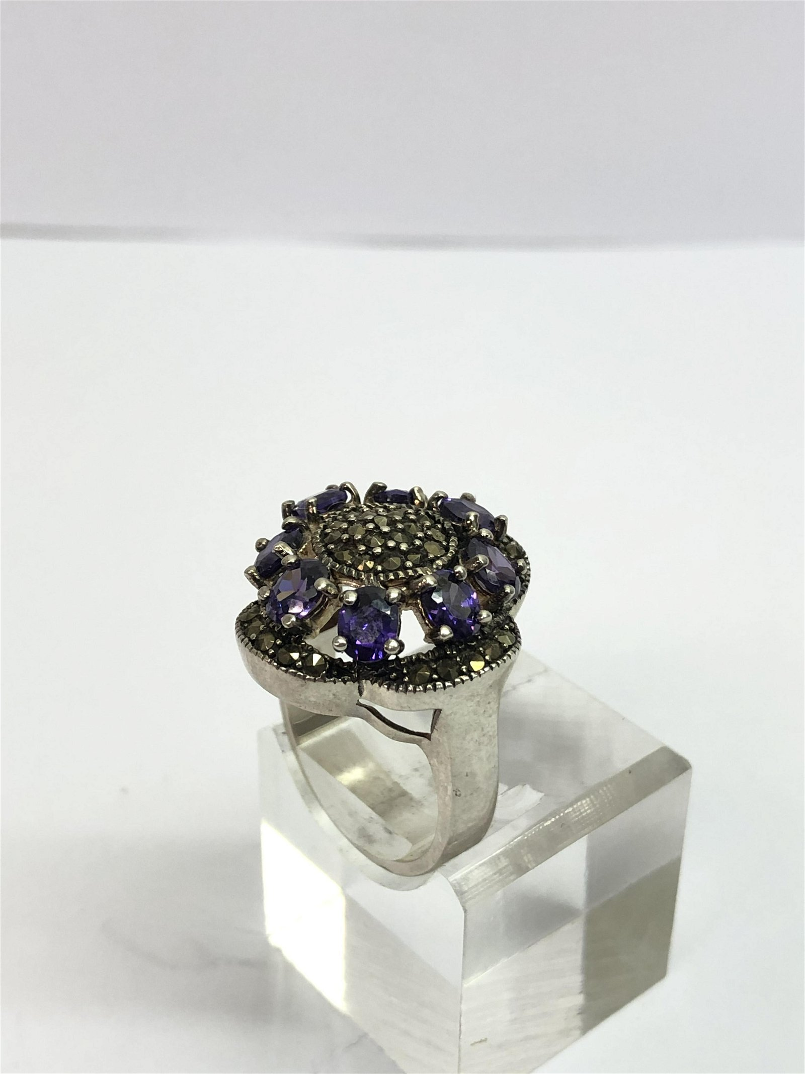 Sterling Silver Marcasite w/ Iolite Ring