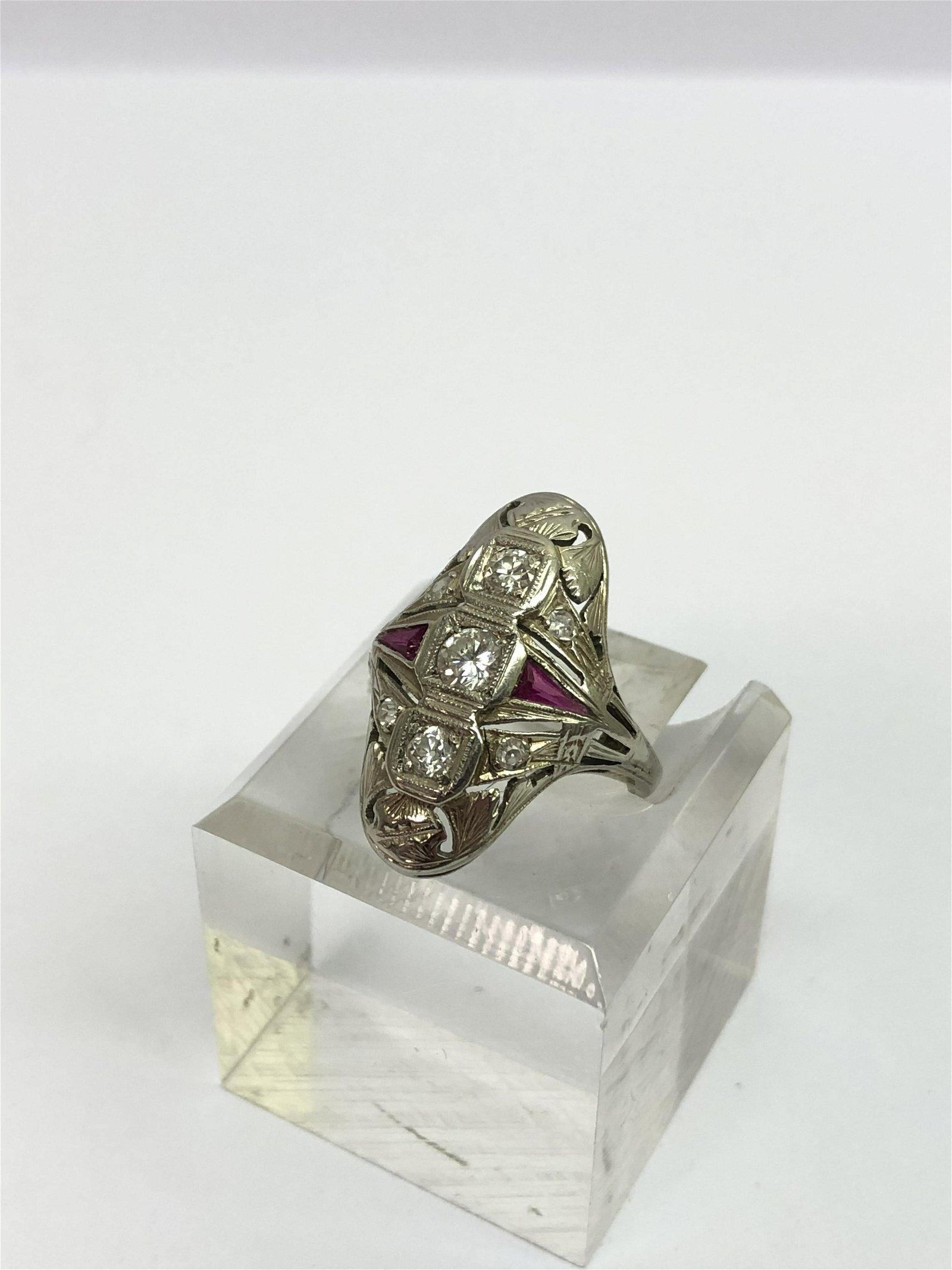 Art Deco 14K Gold Diamond Ruby Ring