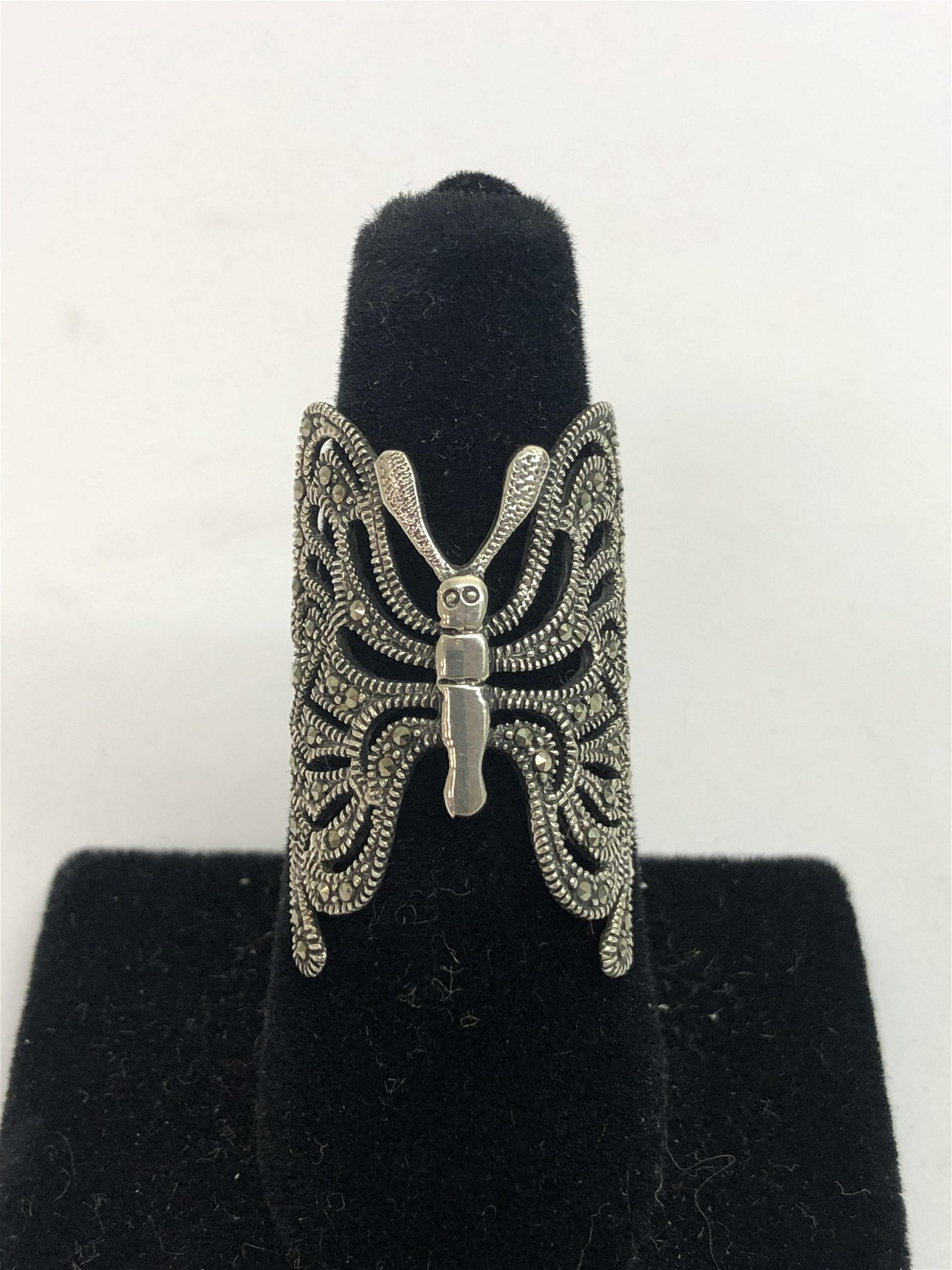 Vintage Sterling Marcasite Butterfly Ring