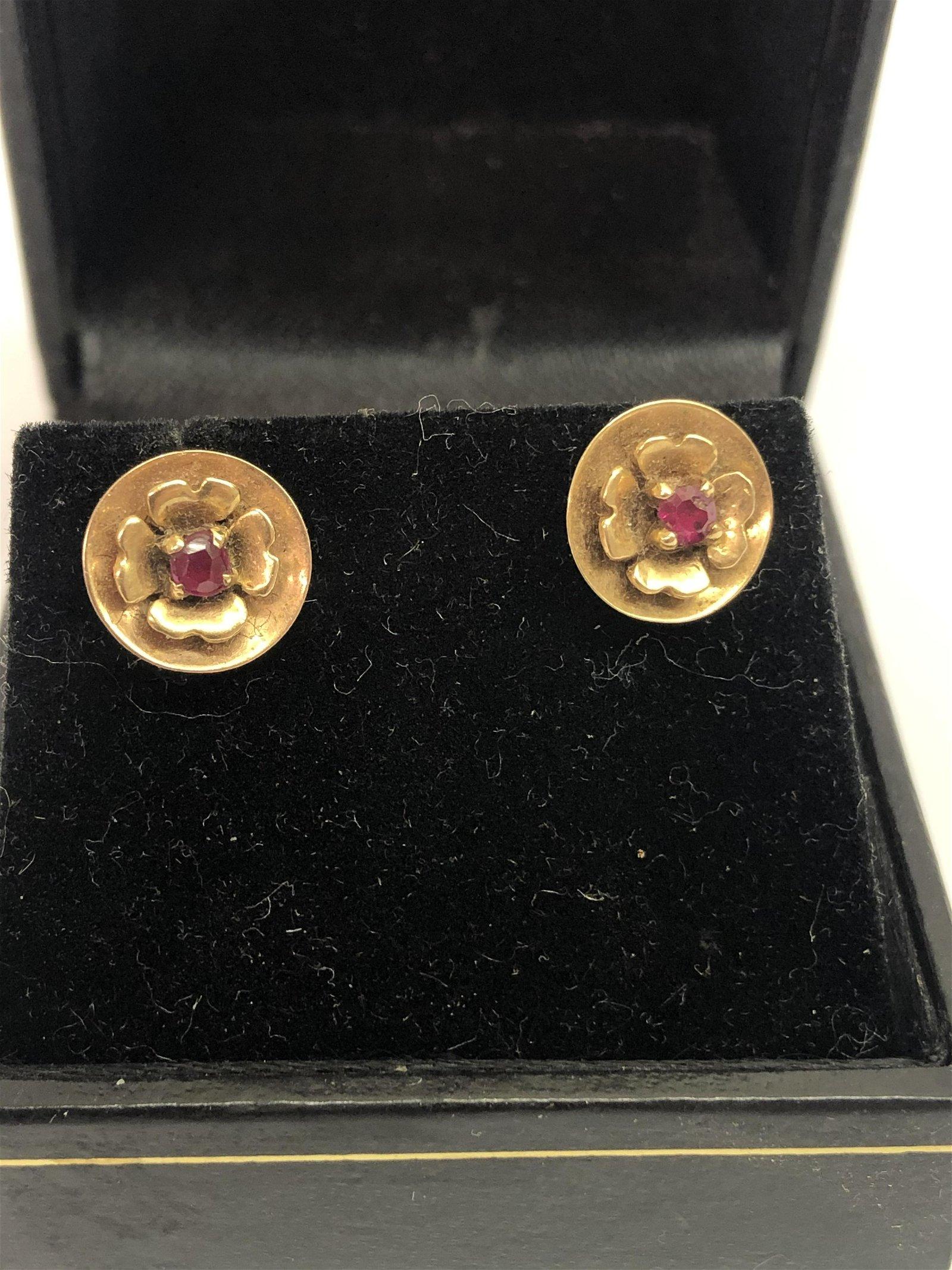 Antique 14K Gold Earrings w/ Rubies