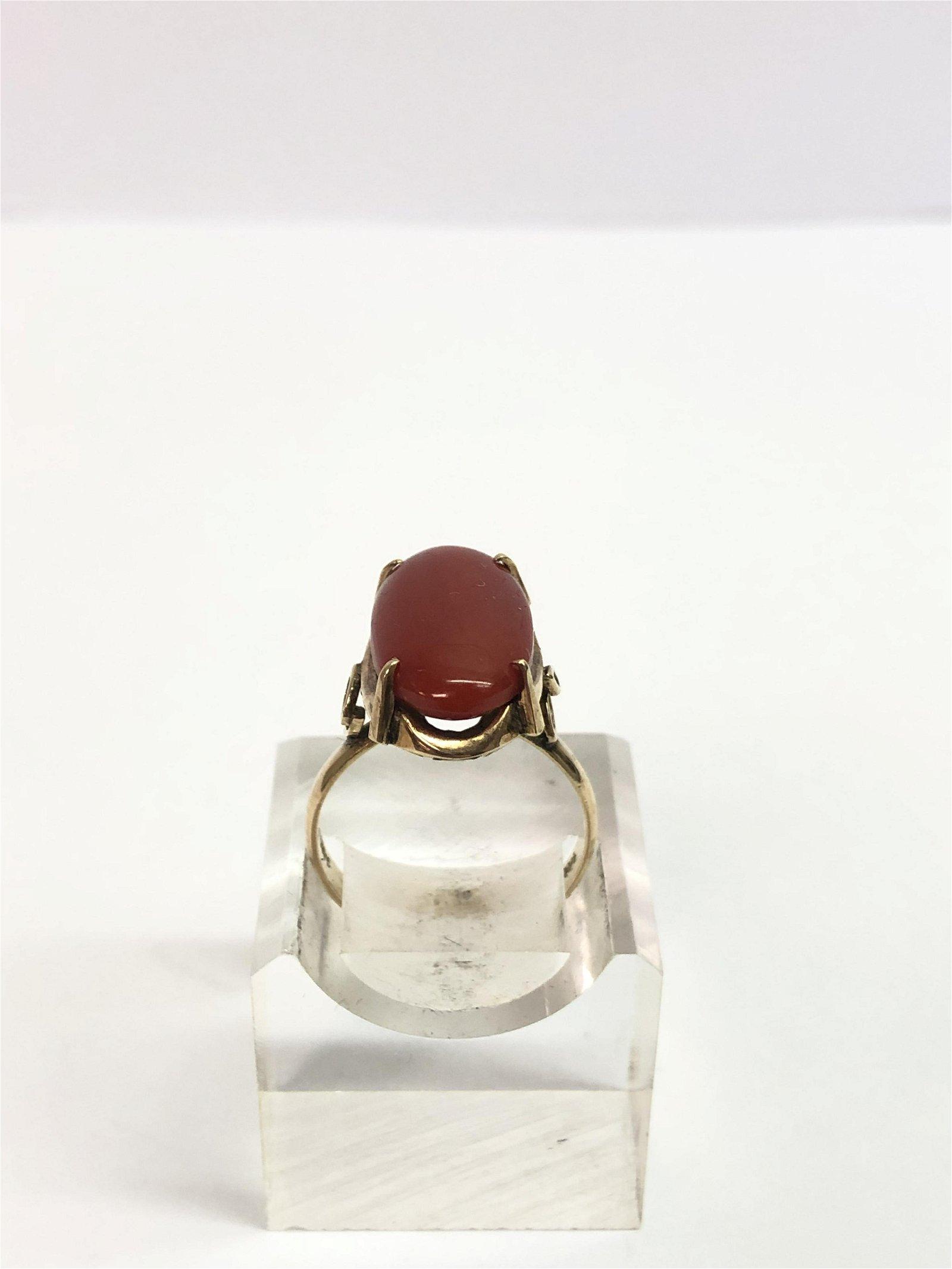 Vintage 14K Gold Coral / Agate Ring