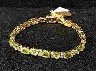 Certified SterlingSilver Peridot White Topaz Bracelet