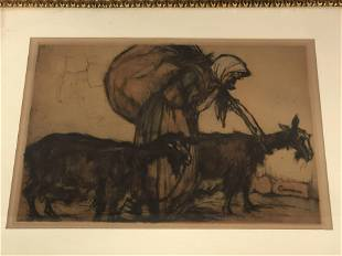 Signed Atq Armand Coussens Etching