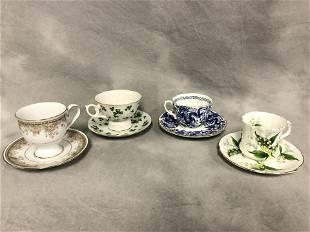 4Asst Teacups w Saucers Lefton More