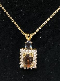 Orange Blue Sapphire Necklace w Diamonds