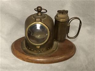 Brass Copper Mini Dive Helmet Ashtray Lighter