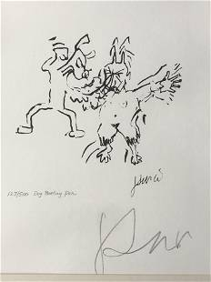 Signed Jerry Garcia Lithograph Dog Beating Pan