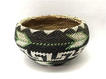 Paiute Native American Beaded Basket
