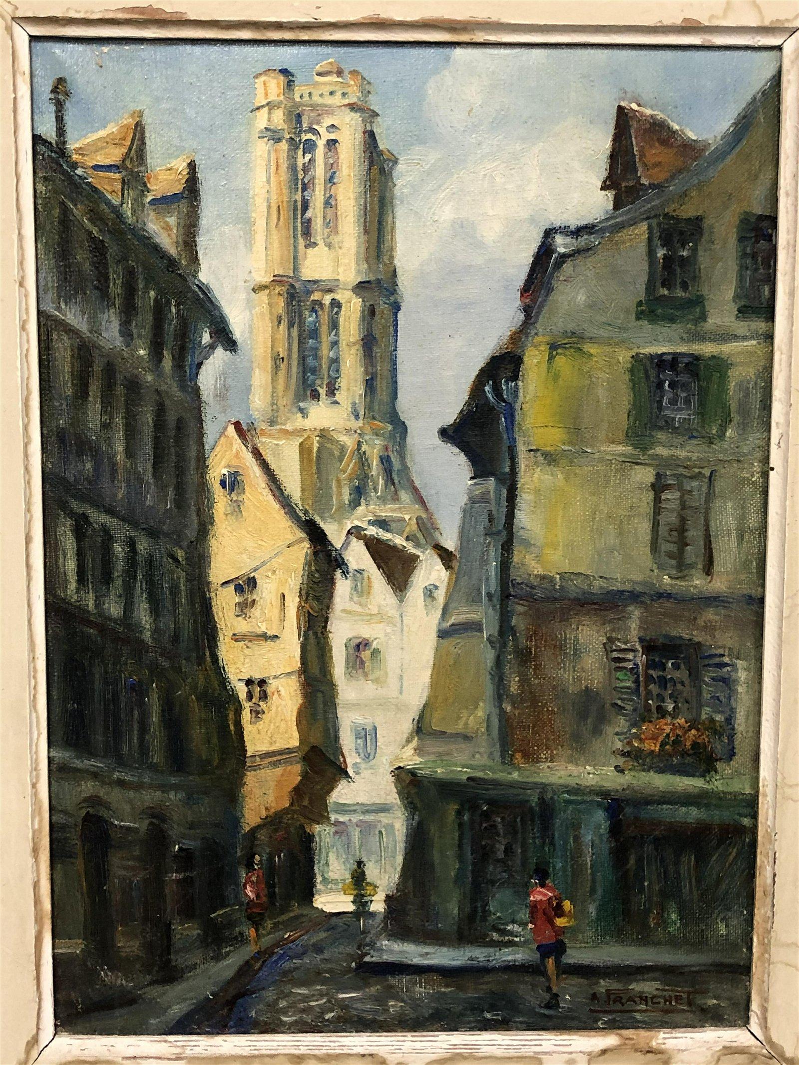Andre Franchet', Oil on Canvas of Paris