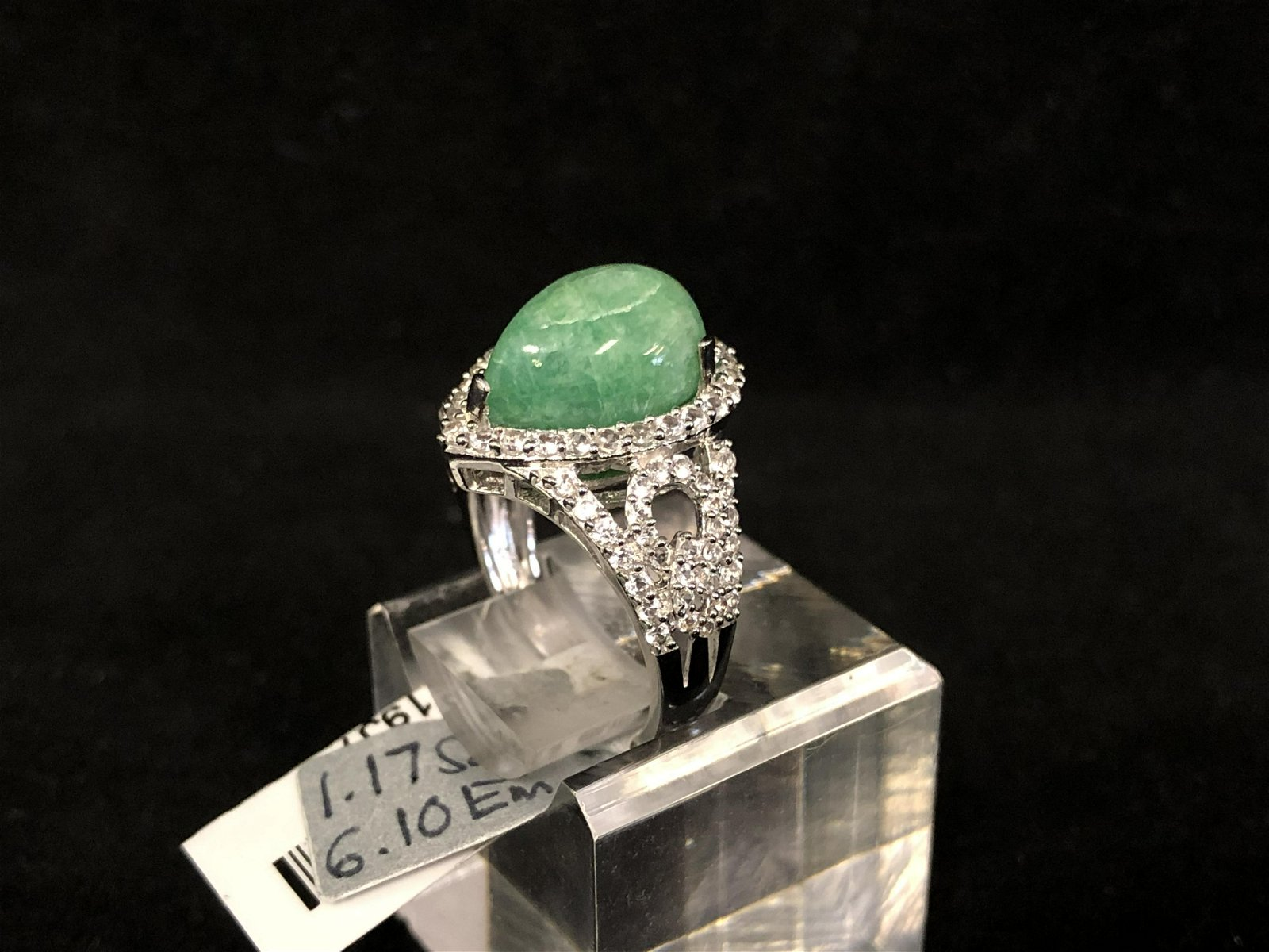 Certified Sterling Beryl Emerald Sapphire Ring