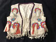 19thC Native American Childs Doeskin Vest
