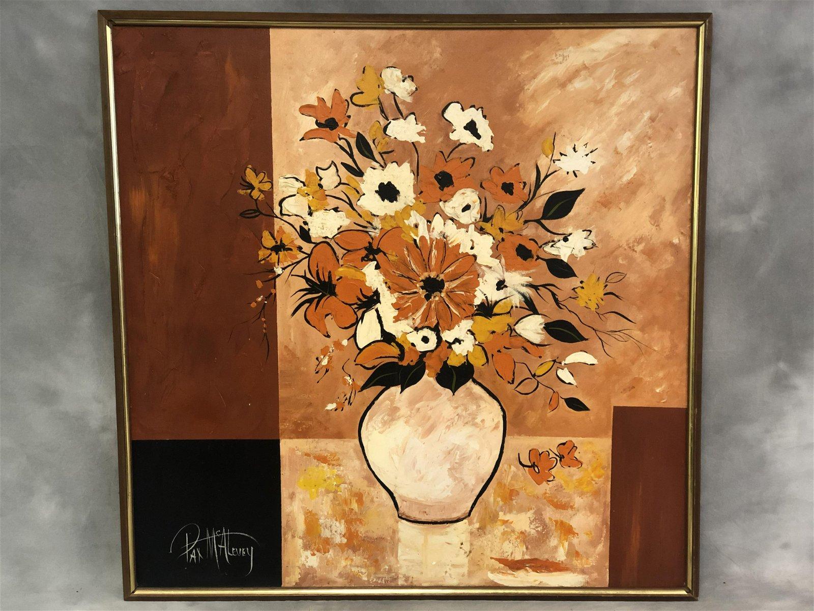 Signed, Pat McAlevey Mid Century Modern Oil Art