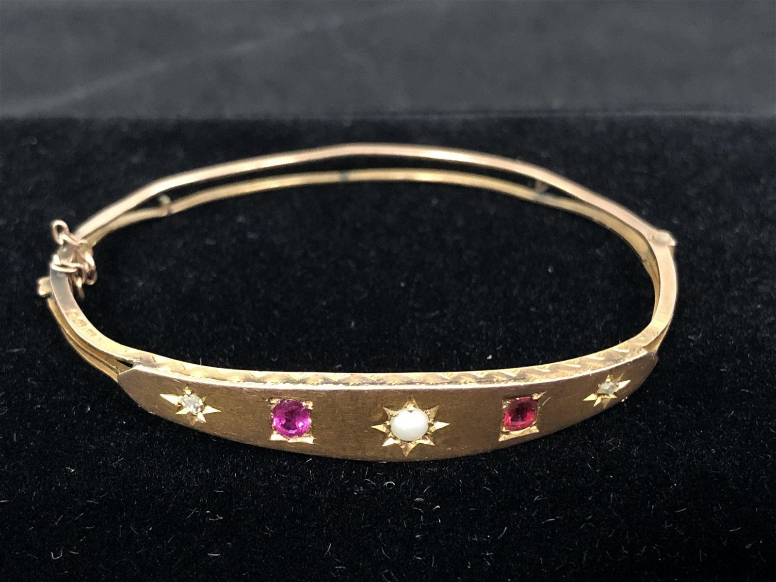 Victorian 9K Gold Ruby Diamond Bracelet - Hallmarked