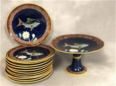 C1870 Joseph Holdcroft Majolica Fish Plates  Pedestal
