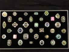 36Asst Costume Rings w Various Stones Sz 75  8