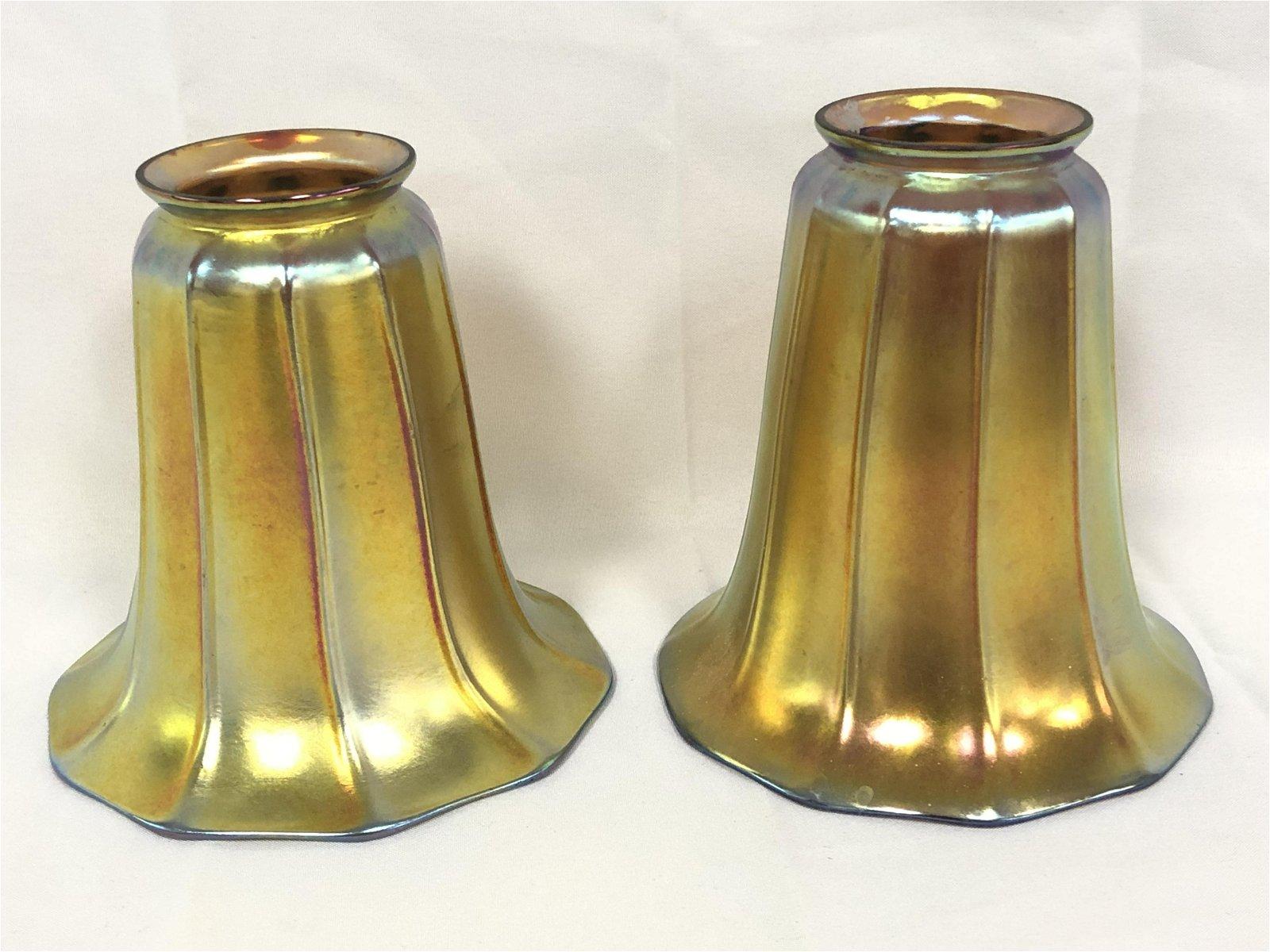 Pr Atq Signed Steuben Aurene Art Glass Shades - Gold
