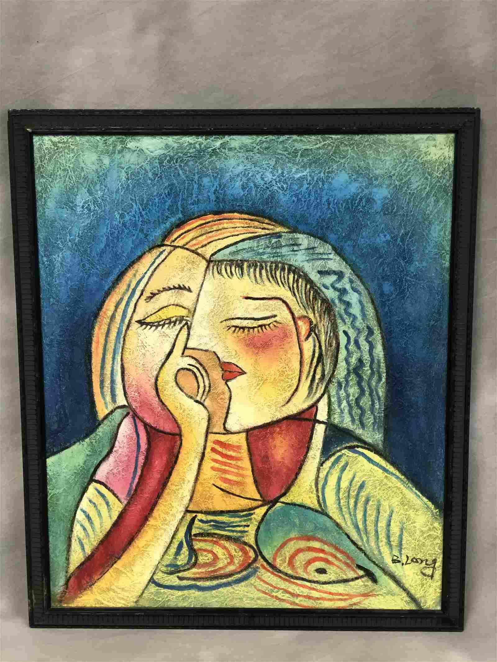 Signed Benjamin Long Modern Cubist Portrait - Oil