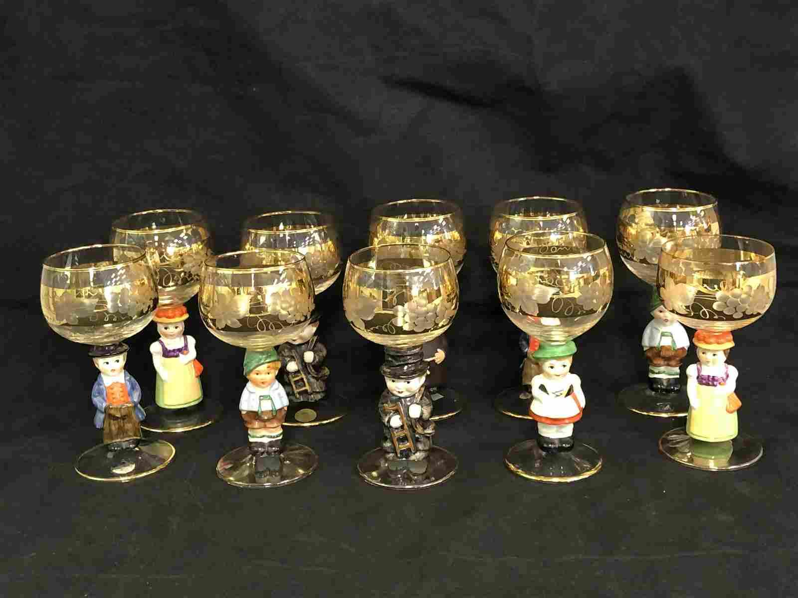 (10)Vintage Goebel Hummel Wine Glasses - Asst Figures,