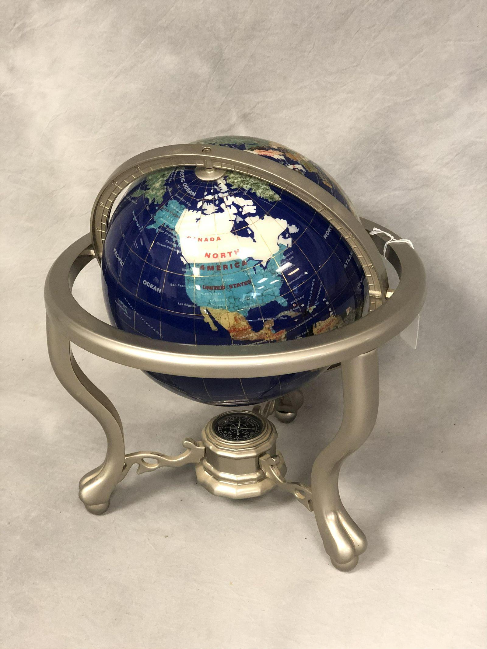 27'' Lapis / Gemstone World Globe w/ Compass - 14''