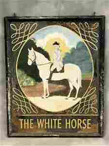 Antique 'The White Horse' Pub Sign - Double Sided,